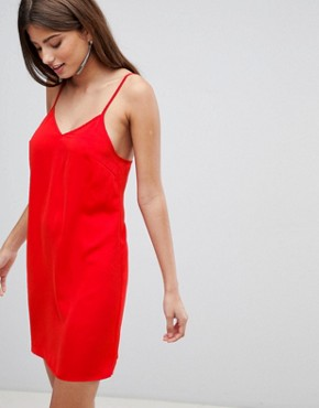 photo Satin Cami Mini Dress by Fashion Union, color Red - Image 1