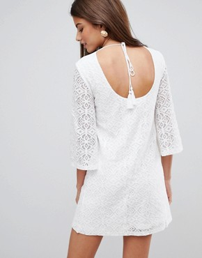 photo Lace Mini Dress with Tie Back by Fashion Union, color Cream - Image 2