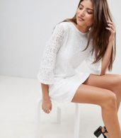 photo Lace Mini Dress with Tie Back by Fashion Union, color Cream - Image 4
