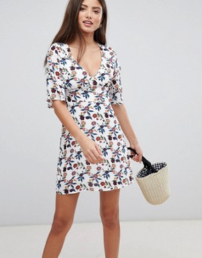 photo Mini Dress with Frill Sleeves by Fashion Union, color Grand White Floral - Image 1
