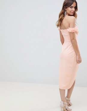 photo 3D Flower Cuff Wrap Midi Bodycon Dress by ASOS DESIGN, color Nude - Image 2