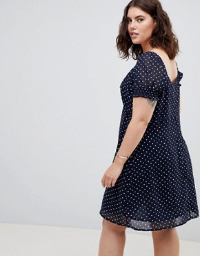 photo Square Neck Polka Dot Skater Dress by Influence Plus, color Navy - Image 2