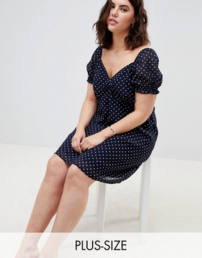 photo Square Neck Polka Dot Skater Dress by Influence Plus, color Navy - Image 1