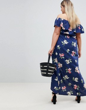 photo Floral Off Shoulder Maxi Dress by Influence Plus, color Black - Image 2