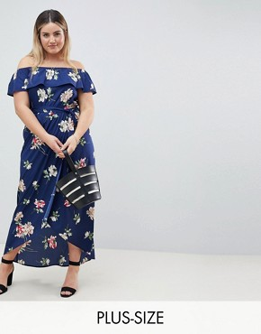 photo Floral Off Shoulder Maxi Dress by Influence Plus, color Black - Image 1