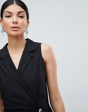 photo Ultimate Sleeveless Mini Tux Dress by ASOS DESIGN Tall, color Black - Image 3