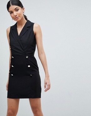 photo Ultimate Sleeveless Mini Tux Dress by ASOS DESIGN Tall, color Black - Image 4