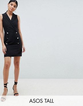 photo Ultimate Sleeveless Mini Tux Dress by ASOS DESIGN Tall, color Black - Image 1