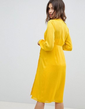 photo Maternity Button Through Dress in Jacquard by ASOS DESIGN, color Yellow - Image 2