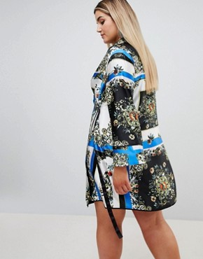 photo Scarf Print Wrap Dress with Piping by ASOS DESIGN Curve, color Multi - Image 2