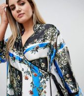 photo Scarf Print Wrap Dress with Piping by ASOS DESIGN Curve, color Multi - Image 3