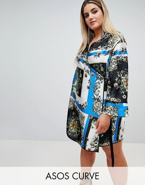 photo Scarf Print Wrap Dress with Piping by ASOS DESIGN Curve, color Multi - Image 1