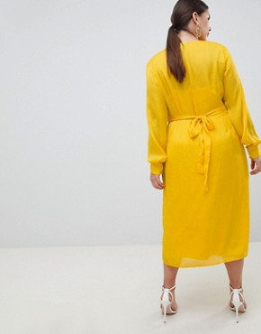 photo Button Through Dress in Jacquard by ASOS DESIGN Curve, color Yellow - Image 2