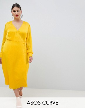 photo Button Through Dress in Jacquard by ASOS DESIGN Curve, color Yellow - Image 1