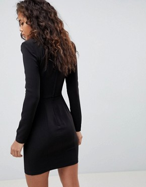 photo Shoulder Pad Mini Dress with Seams by ASOS DESIGN Tall, color Black - Image 2