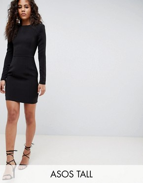 photo Shoulder Pad Mini Dress with Seams by ASOS DESIGN Tall, color Black - Image 1