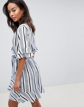 photo Stripe Wrap Dress with Ruffle Detail by Influence Tall, color Blue Stripe - Image 2