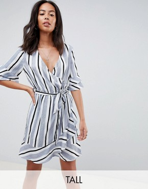 photo Stripe Wrap Dress with Ruffle Detail by Influence Tall, color Blue Stripe - Image 1