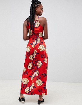 photo Floral Cami Maxi Dress by Influence Tall, color Red - Image 2
