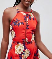 photo Floral Cami Maxi Dress by Influence Tall, color Red - Image 3