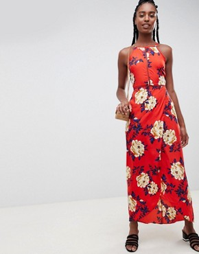 photo Floral Cami Maxi Dress by Influence Tall, color Red - Image 4