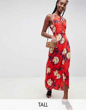 photo Floral Cami Maxi Dress by Influence Tall, color Red - Image 1