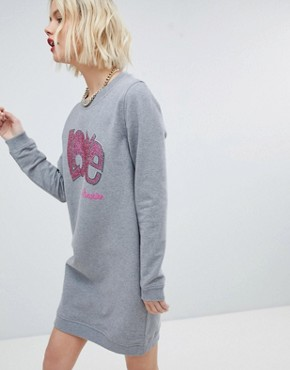 photo Sequined Logo Sweat Dress by Love Moschino, color Grey - Image 4