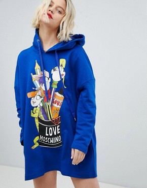 photo Pen Pot Print Hoody Dress by Love Moschino, color  - Image 1
