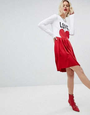 photo Icon Mini T-Shirt Dress with Pleated Skirt by Love Moschino, color  - Image 4