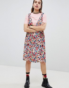 photo Floral Print Tunic Dress with T-Shirt Underlayer by Love Moschino, color  - Image 1