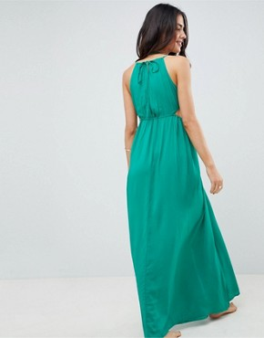 photo Halter Maxi Beach Dress with Cut Out Sides by ASOS DESIGN, color Green - Image 2