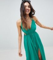 photo Halter Maxi Beach Dress with Cut Out Sides by ASOS DESIGN, color Green - Image 3