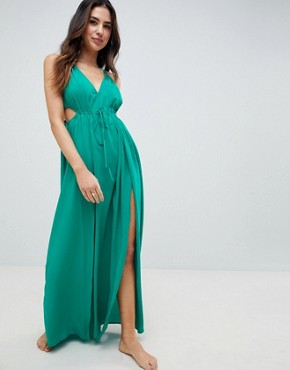 photo Halter Maxi Beach Dress with Cut Out Sides by ASOS DESIGN, color Green - Image 4