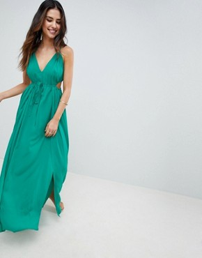 photo Halter Maxi Beach Dress with Cut Out Sides by ASOS DESIGN, color Green - Image 1