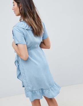 photo Materntiy Denim Wrap Dress with Frill Detail in Midwash Blue by ASOS DESIGN, color Blue - Image 2