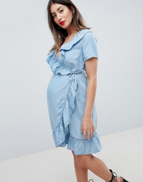 photo Materntiy Denim Wrap Dress with Frill Detail in Midwash Blue by ASOS DESIGN, color Blue - Image 1