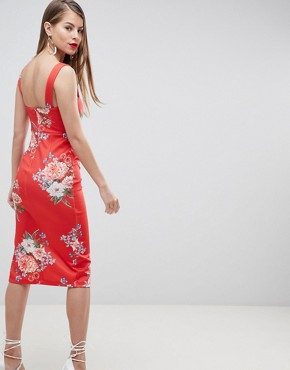 photo Floral Print Midi Pencil Dress with Thigh Split by ASOS DESIGN, color Multi - Image 2