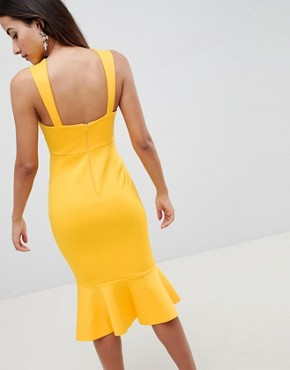 photo Square Neck Fold Front Midi Dress with Pephem by ASOS DESIGN, color Marigold - Image 2