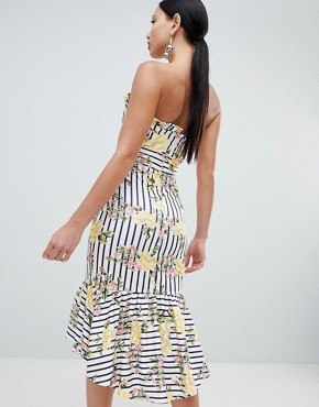 photo Stripe Floral Scuba Bandeau Midi Dress by ASOS DESIGN, color Multi - Image 2
