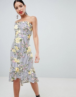 photo Stripe Floral Scuba Bandeau Midi Dress by ASOS DESIGN, color Multi - Image 1