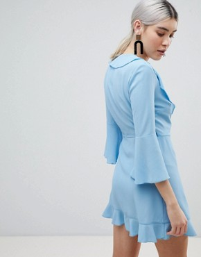photo Ruffle Wrap Dress with Fluted Sleeve by Outrageous Fortune, color Airforce Blue - Image 2