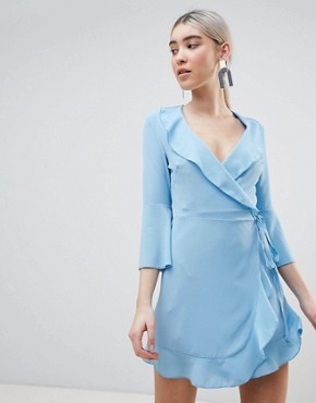 photo Ruffle Wrap Dress with Fluted Sleeve by Outrageous Fortune, color Airforce Blue - Image 1