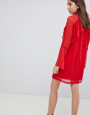 photo Pussy Bow Ruffle Smock Dress by Neon Rose, color Red - Image 2