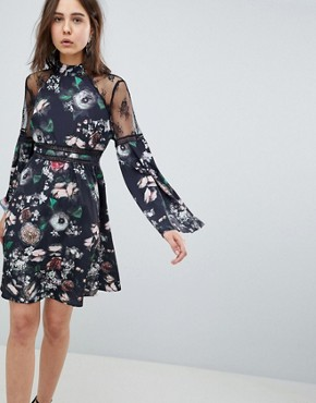 photo Lace Trim Floral Skater Dress by Neon Rose, color Black - Image 1