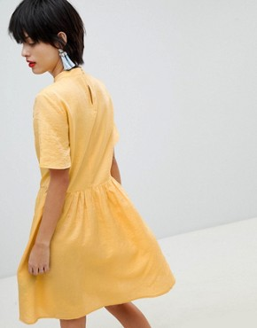 photo Tea Dress with Button Detail by Pieces, color Buff Yellow - Image 2