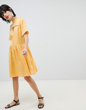 photo Tea Dress with Button Detail by Pieces, color Buff Yellow - Image 4