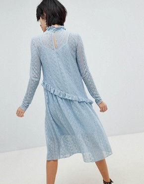 photo Lace Midi Dress by Pieces, color Dusty Blue - Image 2