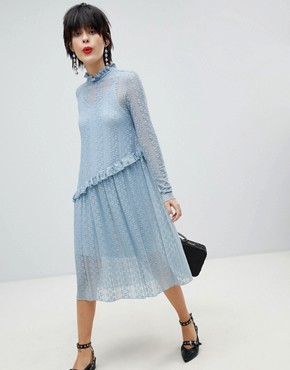 photo Lace Midi Dress by Pieces, color Dusty Blue - Image 1