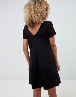 photo Ruched Front Swing Dress by ASOS DESIGN Petite, color Black - Image 2