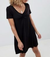 photo Ruched Front Swing Dress by ASOS DESIGN Petite, color Black - Image 3